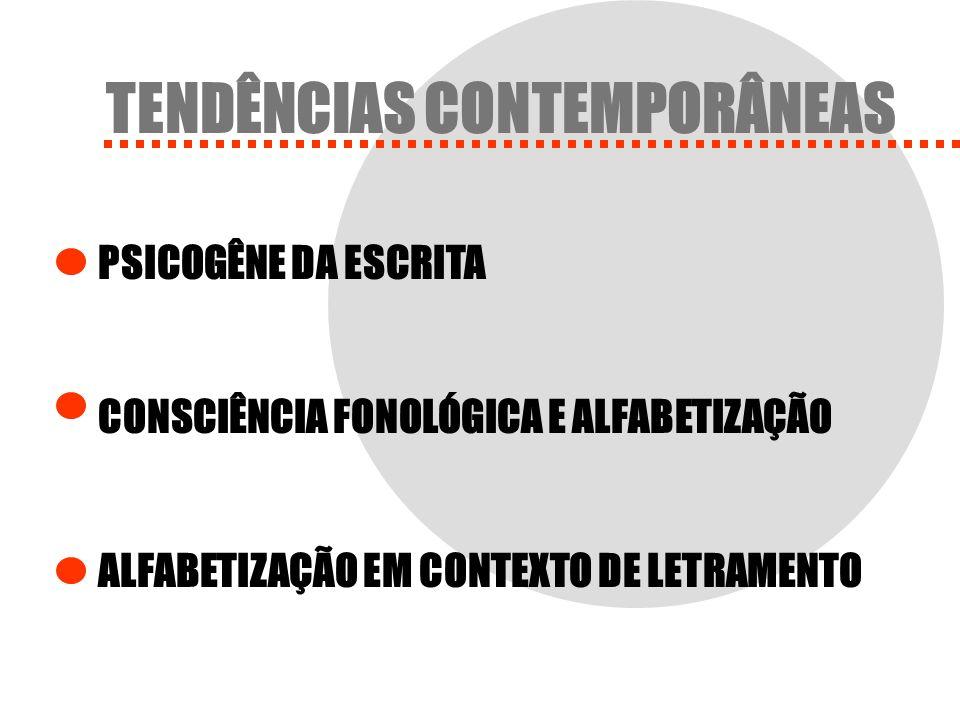 TENDÊNCIAS CONTEMPORÂNEAS PSICOGÊNE DA ESCRITA CONSCIÊNCIA FONOLÓGICA E ALFABETIZAÇÃO ALFABETIZAÇÃO EM CONTEXTO DE LETRAMENTO