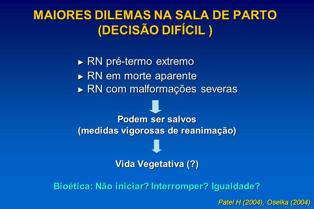 MAIORES DILEMAS NA SALA DE PARTO (DECISÃO DIFÍCIL ) RN pré-termo extremo RN pré-termo extremo RN em morte aparente RN em morte aparente RN com malform