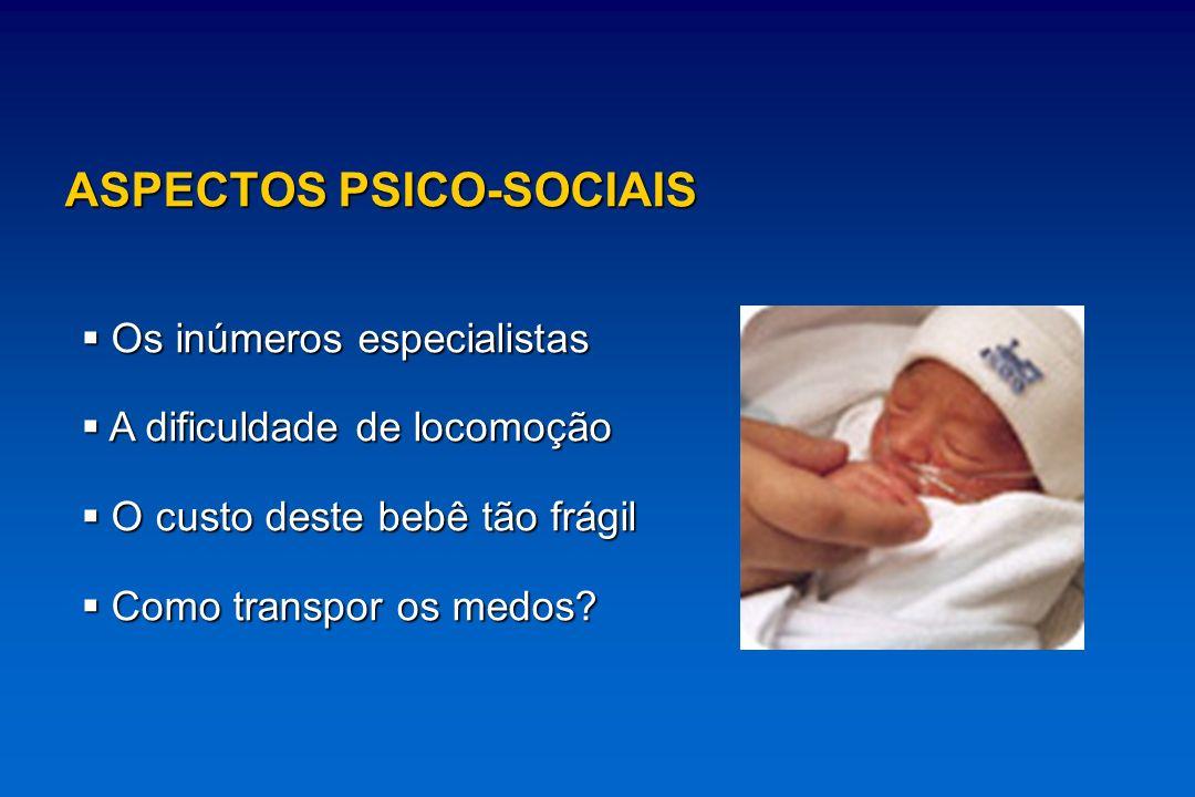 ASPECTOS PSICO-SOCIAIS Os inúmeros especialistas Os inúmeros especialistas A dificuldade de locomoção A dificuldade de locomoção O custo deste bebê tã