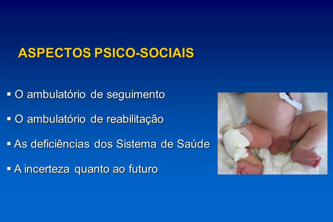 ASPECTOS PSICO-SOCIAIS O ambulatório de seguimento O ambulatório de seguimento O ambulatório de reabilitação O ambulatório de reabilitação As deficiên
