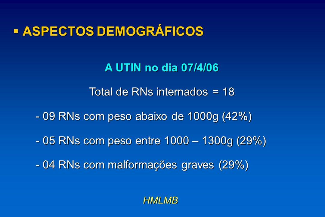 A UTIN no dia 07/4/06 Total de RNs internados = 18 - 09 RNs com peso abaixo de 1000g (42%) - 05 RNs com peso entre 1000 – 1300g (29%) - 04 RNs com mal