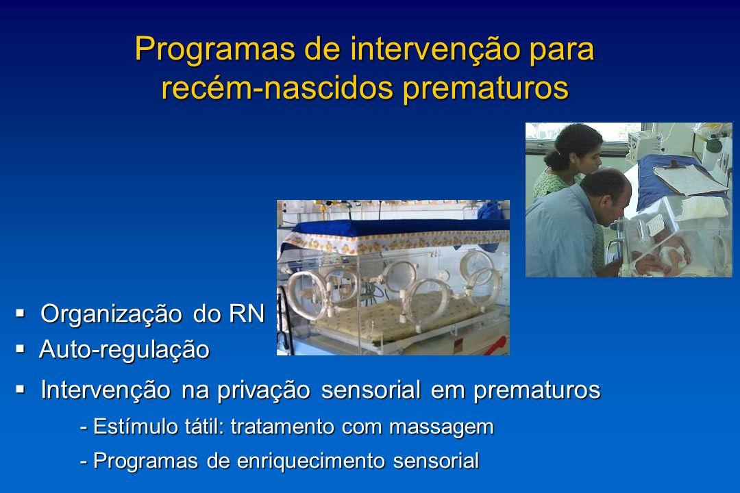 O ambiente da UTIN O ambiente da UTIN - manuseio / intervenções e procedimentos - manuseio / intervenções e procedimentos - luminosidade - luminosidade - ruídos - ruídos Programas de intervenção para recém-nascidos prematuros