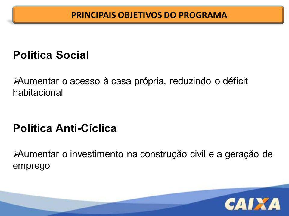 Política Social Aumentar o acesso à casa própria, reduzindo o déficit habitacional Política Anti-Cíclica Aumentar o investimento na construção civil e