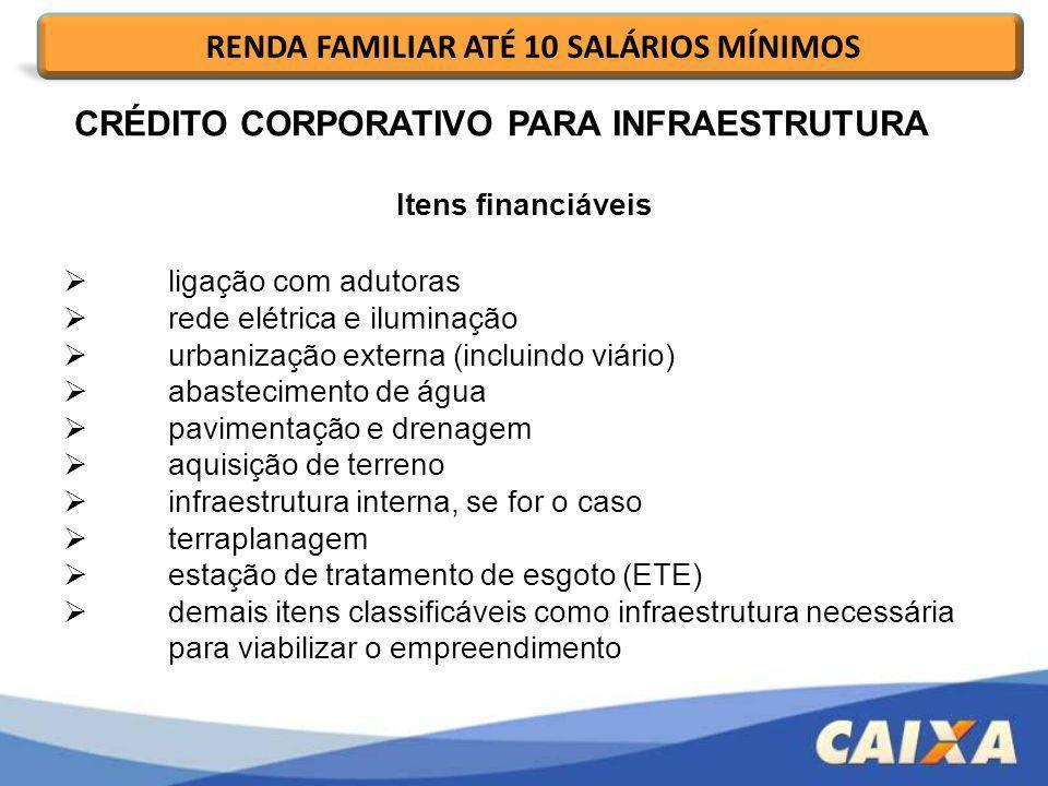 Itens financiáveis ligação com adutoras rede elétrica e iluminação urbanização externa (incluindo viário) abastecimento de água pavimentação e drenage