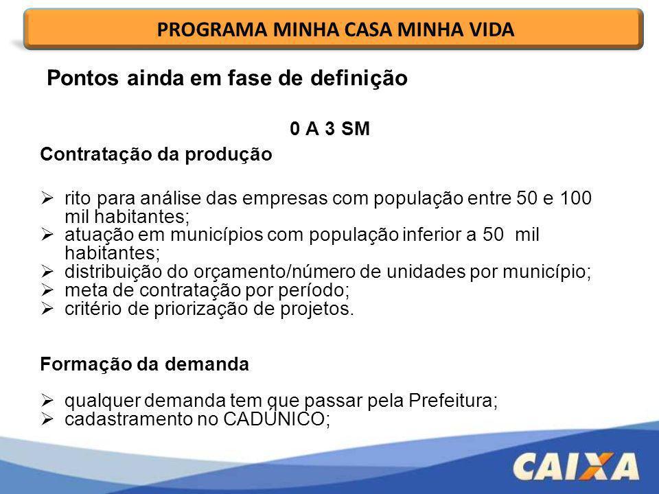 0 A 3 SM Contratação da produção rito para análise das empresas com população entre 50 e 100 mil habitantes; atuação em municípios com população infer