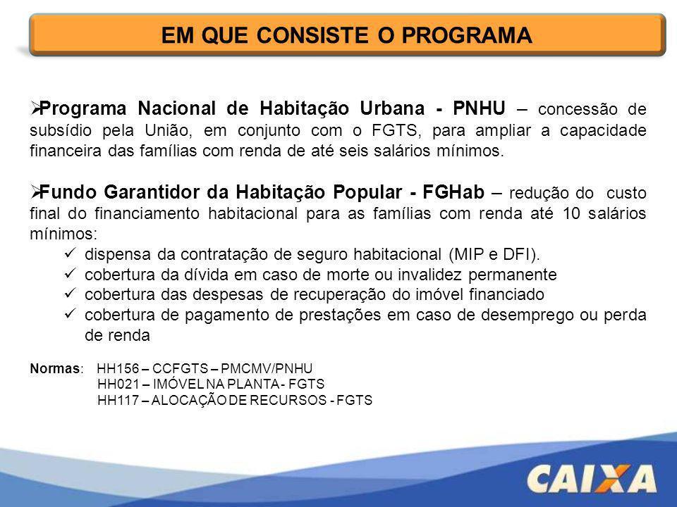 Programa Nacional de Habitação Urbana - PNHU – concessão de subsídio pela União, em conjunto com o FGTS, para ampliar a capacidade financeira das famí