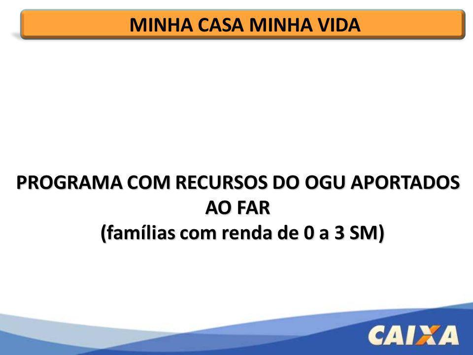 PROGRAMA COM RECURSOS DO OGU APORTADOS AO FAR (famílias com renda de 0 a 3 SM) (famílias com renda de 0 a 3 SM) MINHA CASA MINHA VIDA