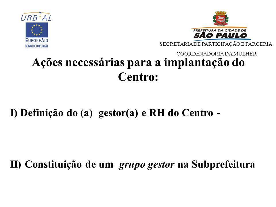 SECRETARIA DE PARTICIPAÇÃO E PARCERIA COORDENADORIA DA MULHER Ações necessárias para a implantação do Centro: I) Definição do (a) gestor(a) e RH do Centro - II) Constituição de um grupo gestor na Subprefeitura