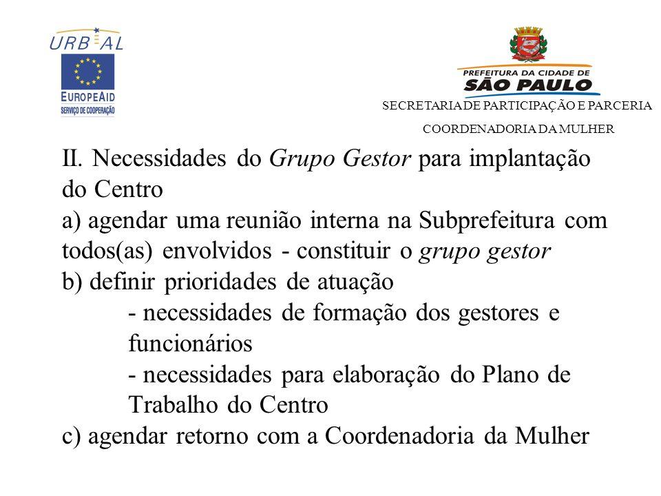 SECRETARIA DE PARTICIPAÇÃO E PARCERIA COORDENADORIA DA MULHER II.