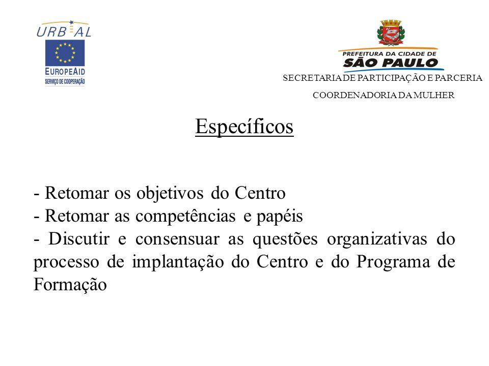 SECRETARIA DE PARTICIPAÇÃO E PARCERIA COORDENADORIA DA MULHER Proposta de Pauta Necessidades para a implantação do Centro