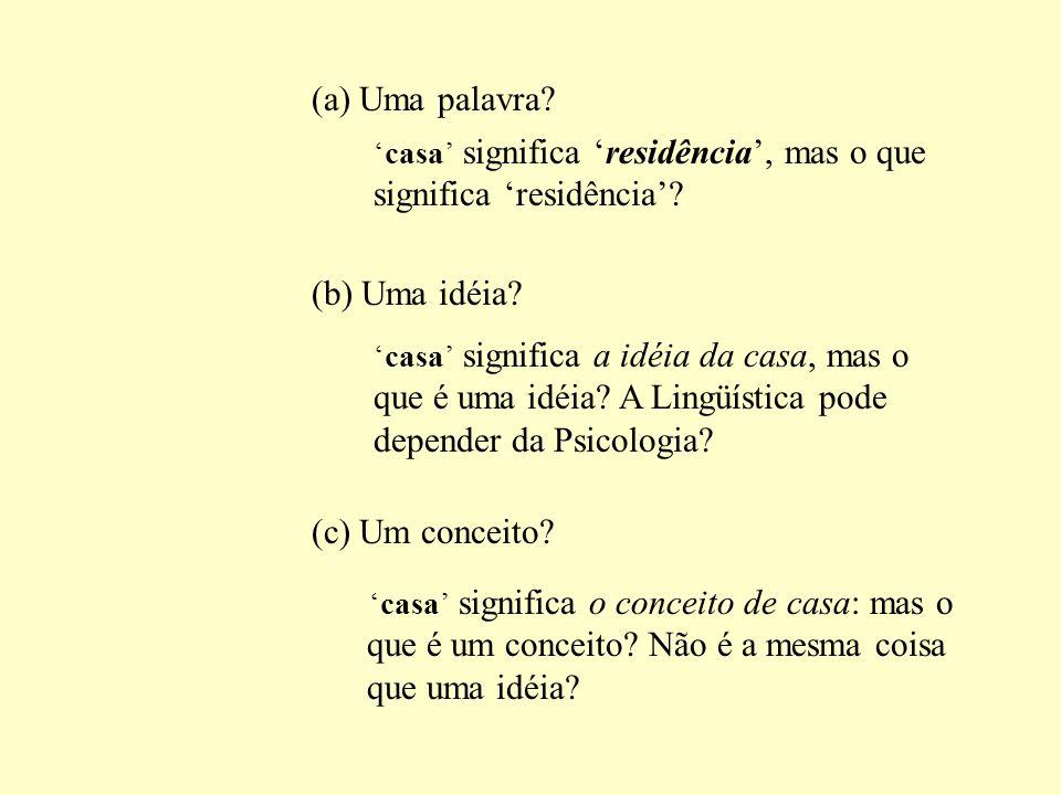 2.1 Significado Lingüístico X Significado Extralingüístico casa significa residência; homeless significa sem casa Ex.: Ter casa significa ter condiçõe