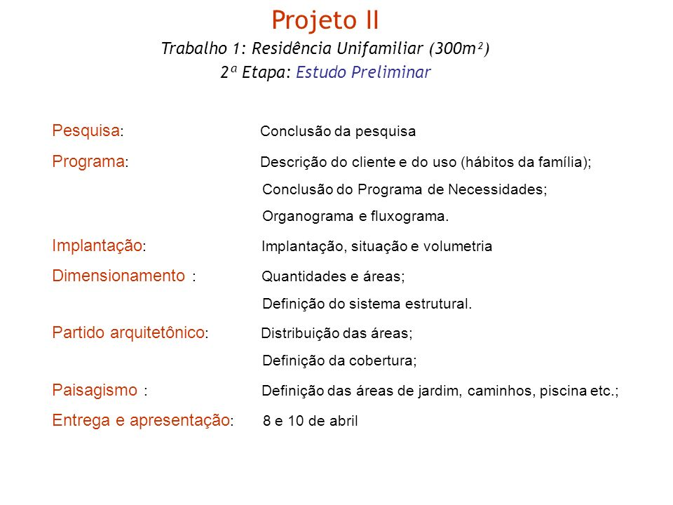 Pesquisa : Conclusão da pesquisa Programa : Descrição do cliente e do uso (hábitos da família); Conclusão do Programa de Necessidades; Organograma e f