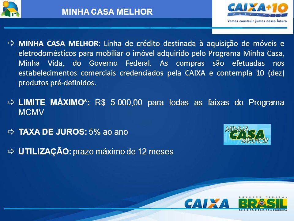 MINHA CASA MELHOR MINHA CASA MELHOR: Linha de crédito destinada à aquisição de móveis e eletrodomésticos para mobiliar o imóvel adquirido pelo Program