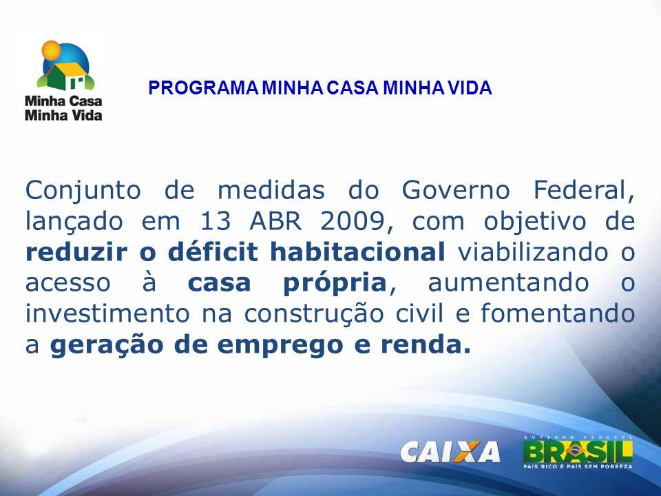 Conjunto de medidas do Governo Federal, lançado em 13 ABR 2009, com objetivo de reduzir o déficit habitacional viabilizando o acesso à casa própria, a