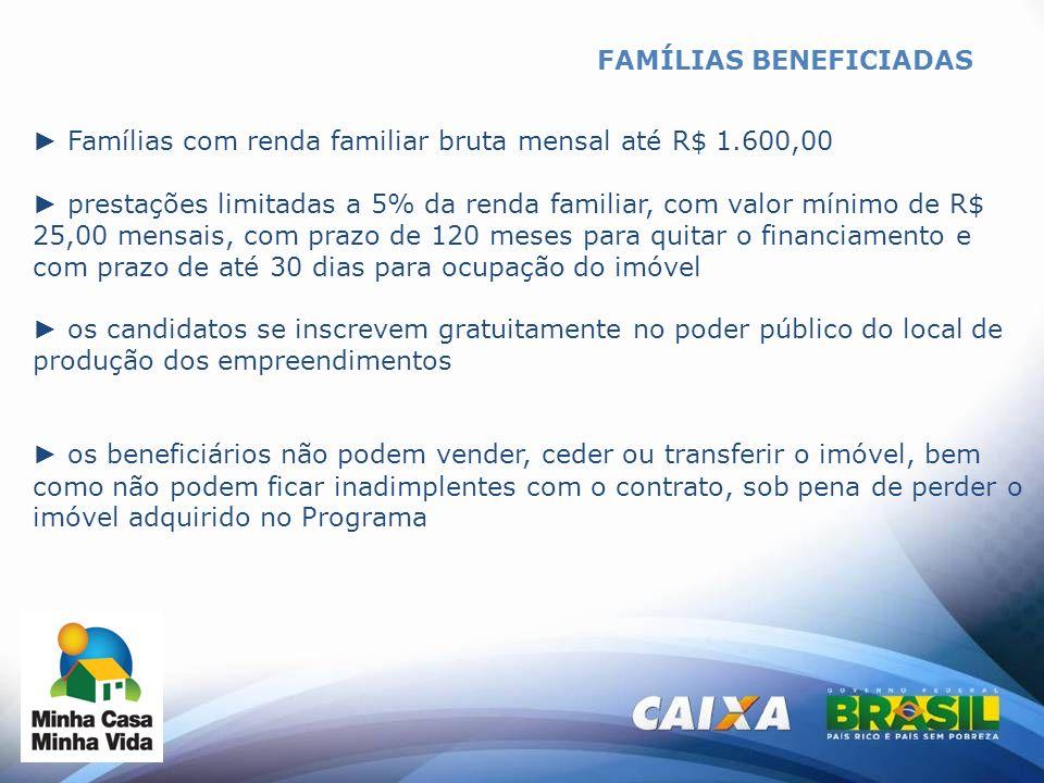 FAMÍLIAS BENEFICIADAS Famílias com renda familiar bruta mensal até R$ 1.600,00 prestações limitadas a 5% da renda familiar, com valor mínimo de R$ 25,