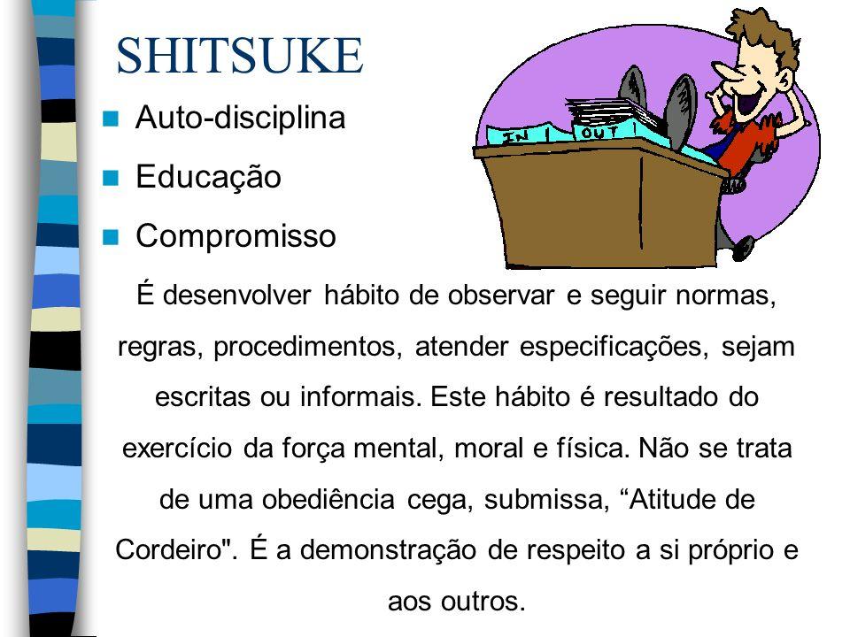 SHITSUKE É desenvolver hábito de observar e seguir normas, regras, procedimentos, atender especificações, sejam escritas ou informais. Este hábito é r