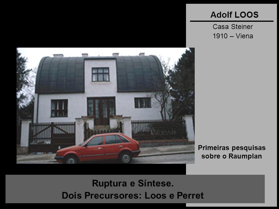 Ruptura e Síntese. Dois Precursores: Loos e Perret Adolf LOOS Casa Steiner 1910 – Viena Primeiras pesquisas sobre o Raumplan