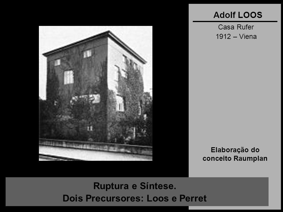Ruptura e Síntese. Dois Precursores: Loos e Perret Adolf LOOS Casa Rufer 1912 – Viena Elaboração do conceito Raumplan