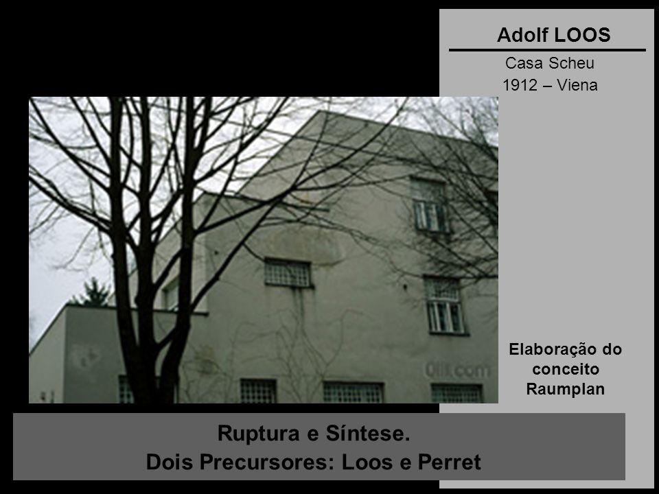 Ruptura e Síntese. Dois Precursores: Loos e Perret Adolf LOOS Casa Scheu 1912 – Viena Elaboração do conceito Raumplan