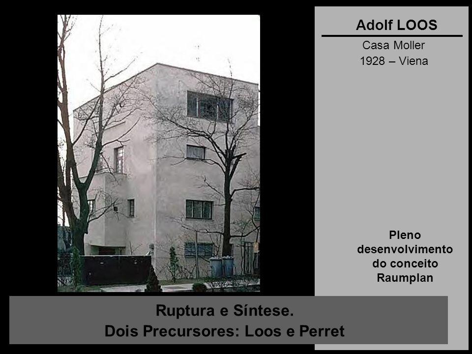 Ruptura e Síntese. Dois Precursores: Loos e Perret Adolf LOOS Casa Moller 1928 – Viena Pleno desenvolvimento do conceito Raumplan