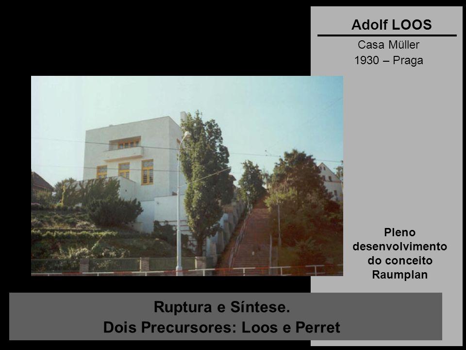 Ruptura e Síntese. Dois Precursores: Loos e Perret Adolf LOOS Casa Müller 1930 – Praga Pleno desenvolvimento do conceito Raumplan
