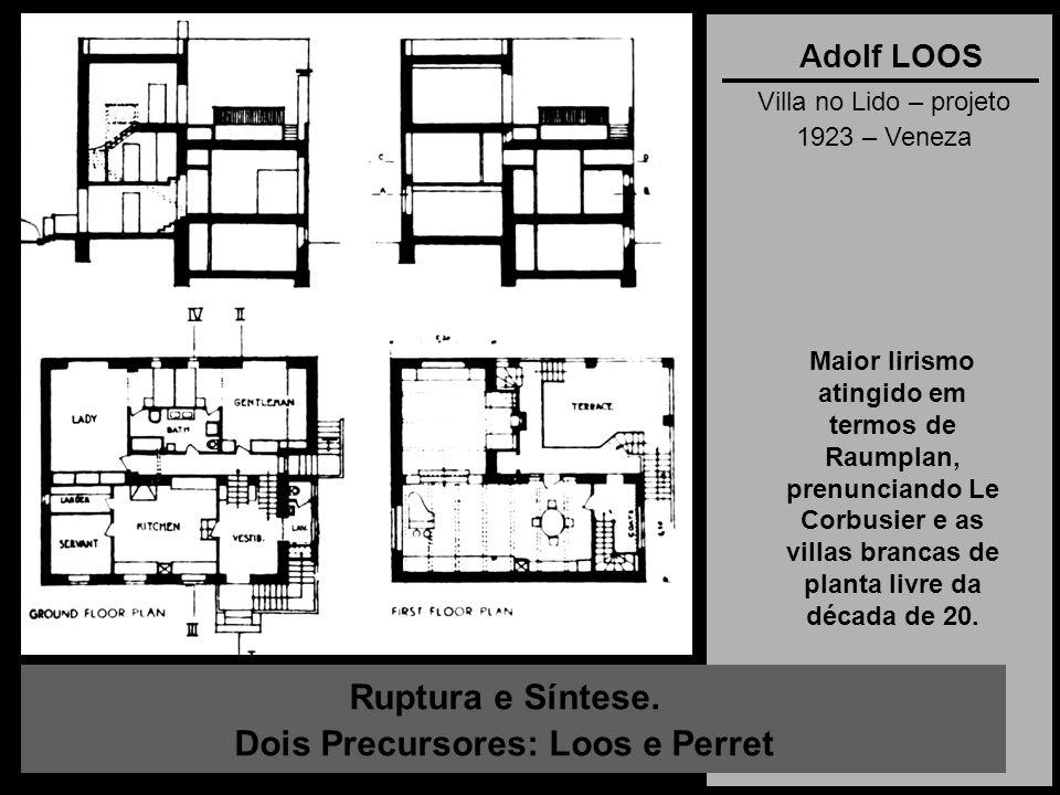 Ruptura e Síntese. Dois Precursores: Loos e Perret Adolf LOOS Villa no Lido – projeto 1923 – Veneza Maior lirismo atingido em termos de Raumplan, pren