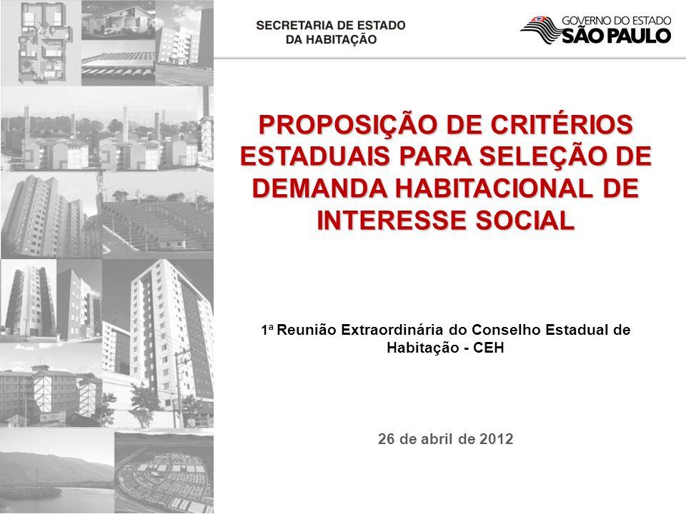PROPOSIÇÃO DE CRITÉRIOS ESTADUAIS PARA SELEÇÃO DE DEMANDA HABITACIONAL DE INTERESSE SOCIAL 1ª Reunião Extraordinária do Conselho Estadual de Habitação - CEH 26 de abril de 2012