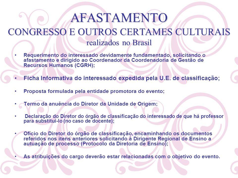 AFASTAMENTO CONGRESSO E OUTROS CERTAMES CULTURAIS realizados no Brasil Requerimento do interessado devidamente fundamentado, solicitando o afastamento