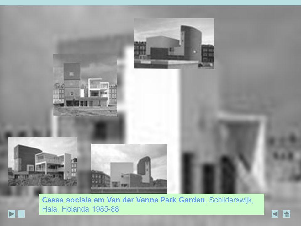 Casas sociais em Van der Venne Park Garden, Schilderswijk, Haia, Holanda 1985-88