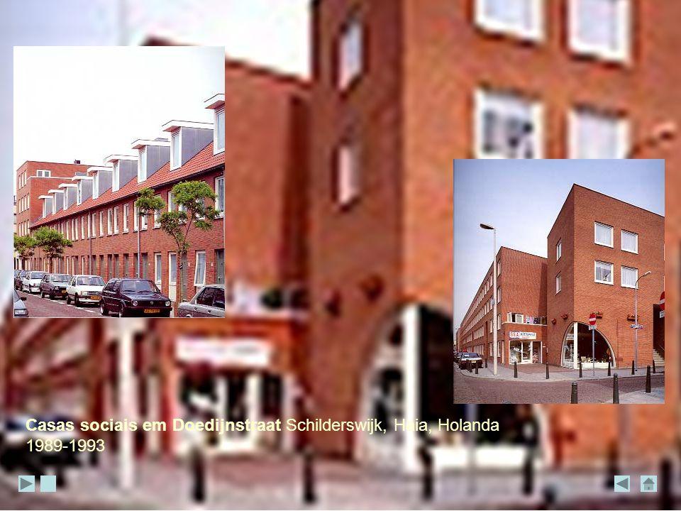 Casas sociais em Doedijnstraat Schilderswijk, Haia, Holanda 1989-1993