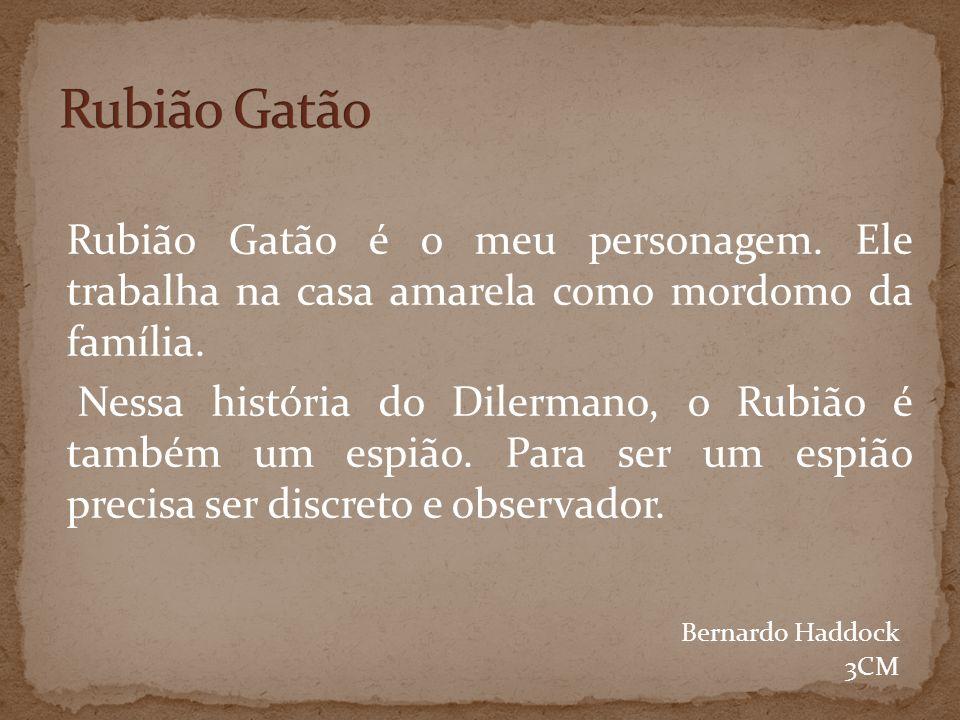 Rubião Gatão é o meu personagem.Ele trabalha na casa amarela como mordomo da família.