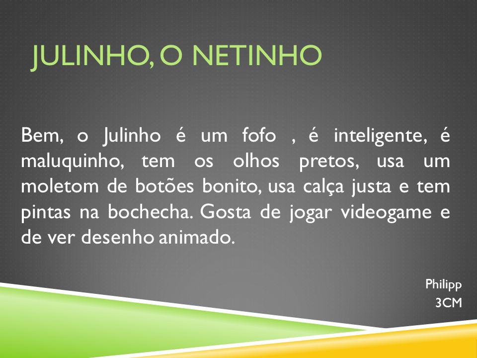 JULINHO, O NETINHO Bem, o Julinho é um fofo, é inteligente, é maluquinho, tem os olhos pretos, usa um moletom de botões bonito, usa calça justa e tem pintas na bochecha.