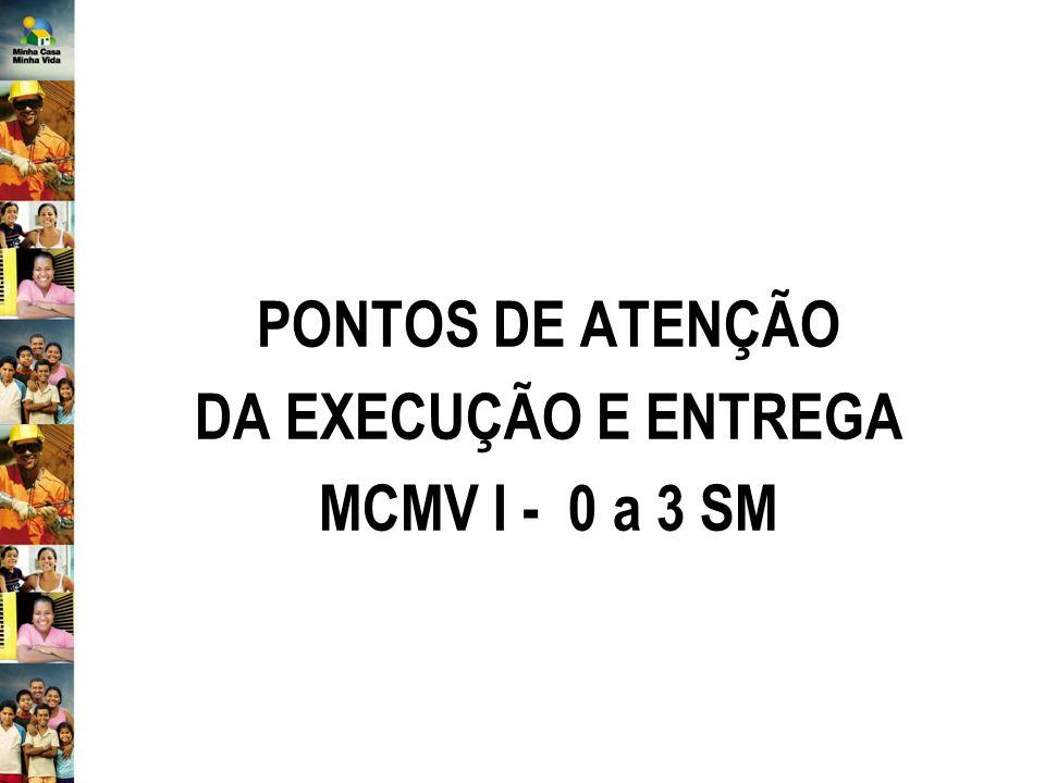 PONTOS DE ATENÇÃO DA EXECUÇÃO E ENTREGA MCMV I - 0 a 3 SM