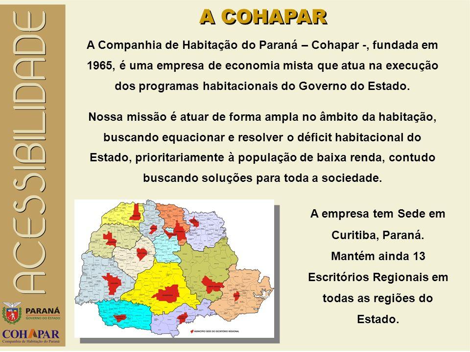 A COHAPAR A Companhia de Habitação do Paraná – Cohapar -, fundada em 1965, é uma empresa de economia mista que atua na execução dos programas habitacionais do Governo do Estado.