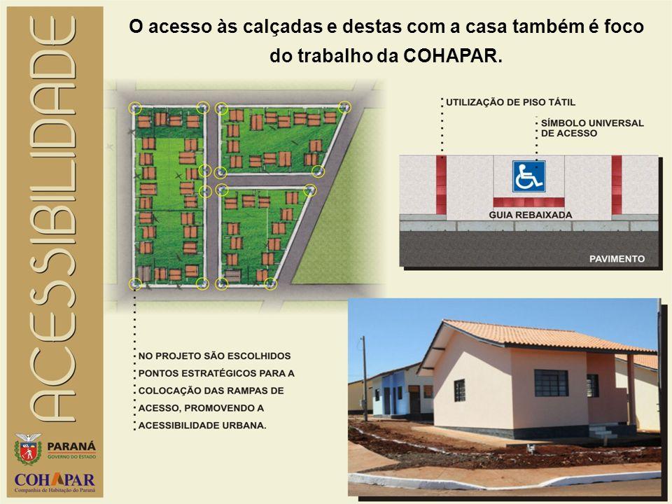 O acesso às calçadas e destas com a casa também é foco do trabalho da COHAPAR.