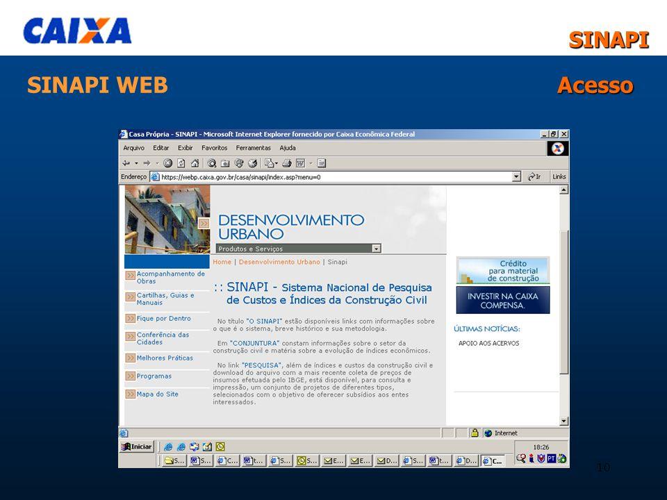 SINAPISINAPI 10 Acesso SINAPI WEB Acesso