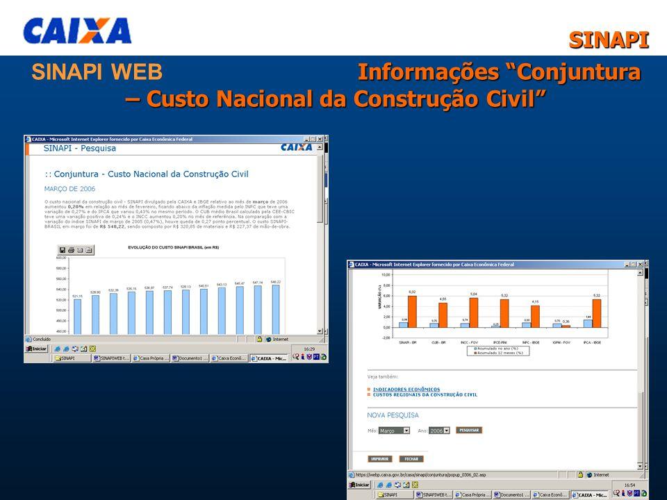 SINAPISINAPI 11 Informações Conjuntura – Custo Nacional da Construção Civil SINAPI WEB Informações Conjuntura – Custo Nacional da Construção Civil