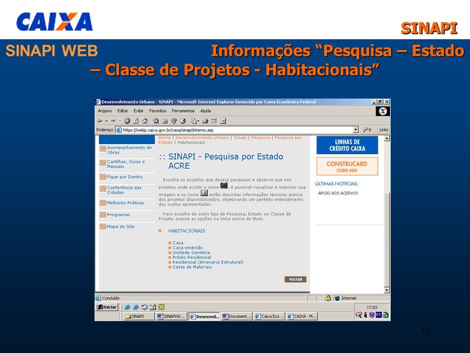 SINAPISINAPI 13 Informações Pesquisa – Estado – Classe de Projetos - Habitacionais SINAPI WEB Informações Pesquisa – Estado – Classe de Projetos - Hab