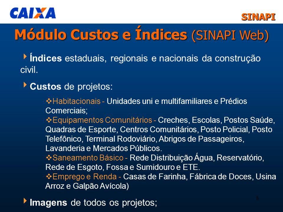 SINAPISINAPI 8 Índices estaduais, regionais e nacionais da construção civil. Custos de projetos: Habitacionais - Unidades uni e multifamiliares e Préd