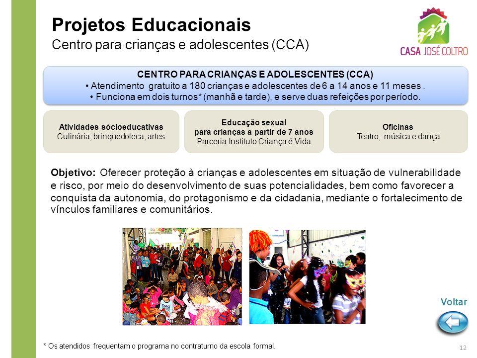 Objetivo: Oferecer proteção à crianças e adolescentes em situação de vulnerabilidade e risco, por meio do desenvolvimento de suas potencialidades, bem