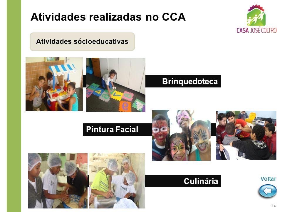Atividades sócioeducativas Atividades realizadas no CCA Pintura Facial Brinquedoteca Culinária 14 Voltar
