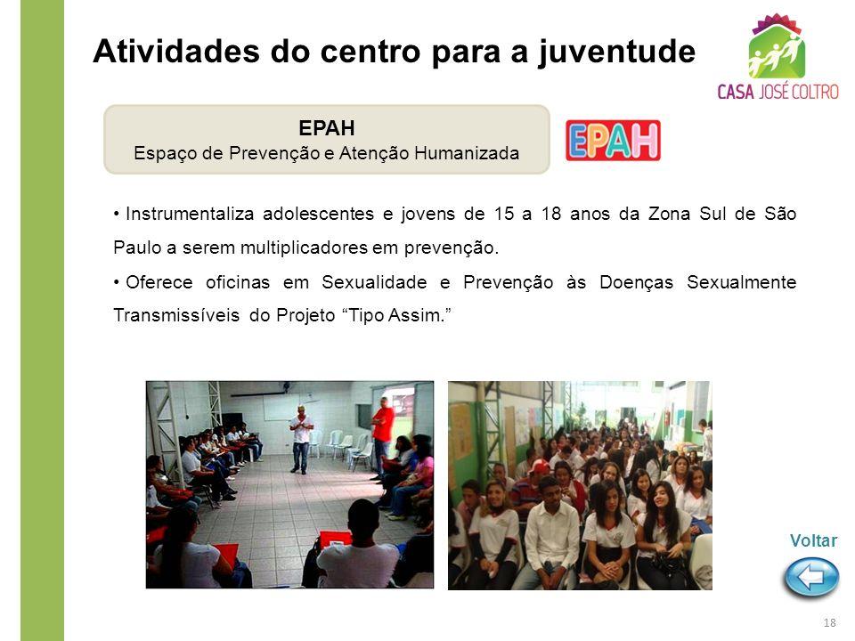 Instrumentaliza adolescentes e jovens de 15 a 18 anos da Zona Sul de São Paulo a serem multiplicadores em prevenção. Oferece oficinas em Sexualidade e