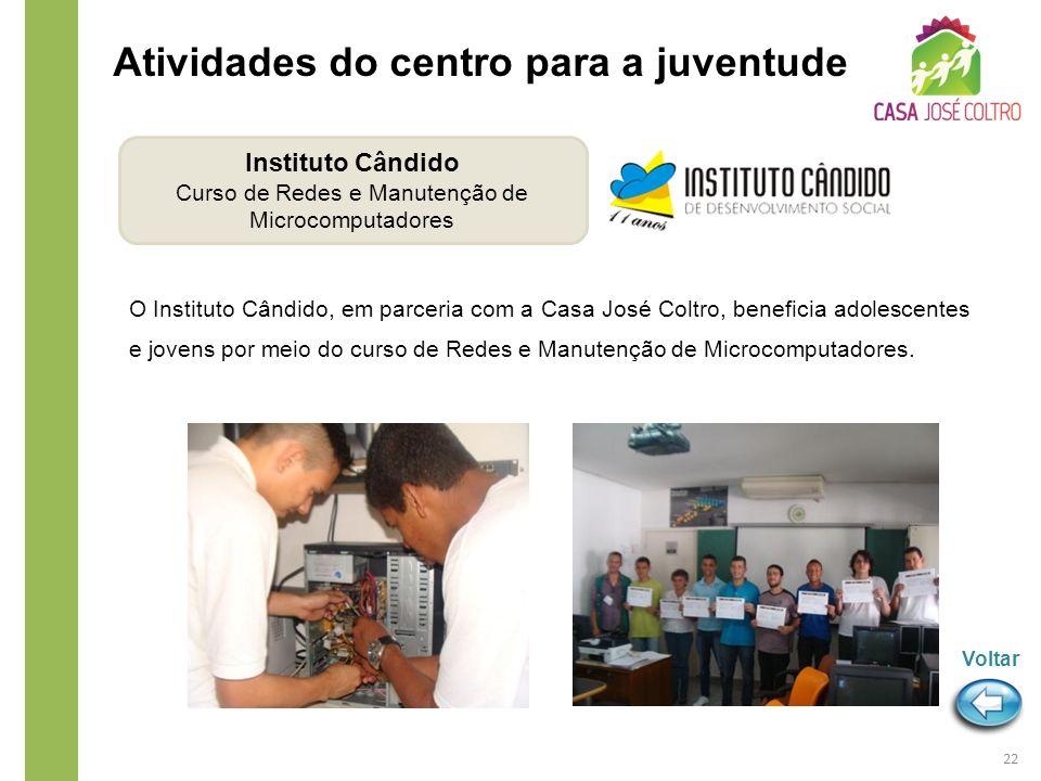 O Instituto Cândido, em parceria com a Casa José Coltro, beneficia adolescentes e jovens por meio do curso de Redes e Manutenção de Microcomputadores.