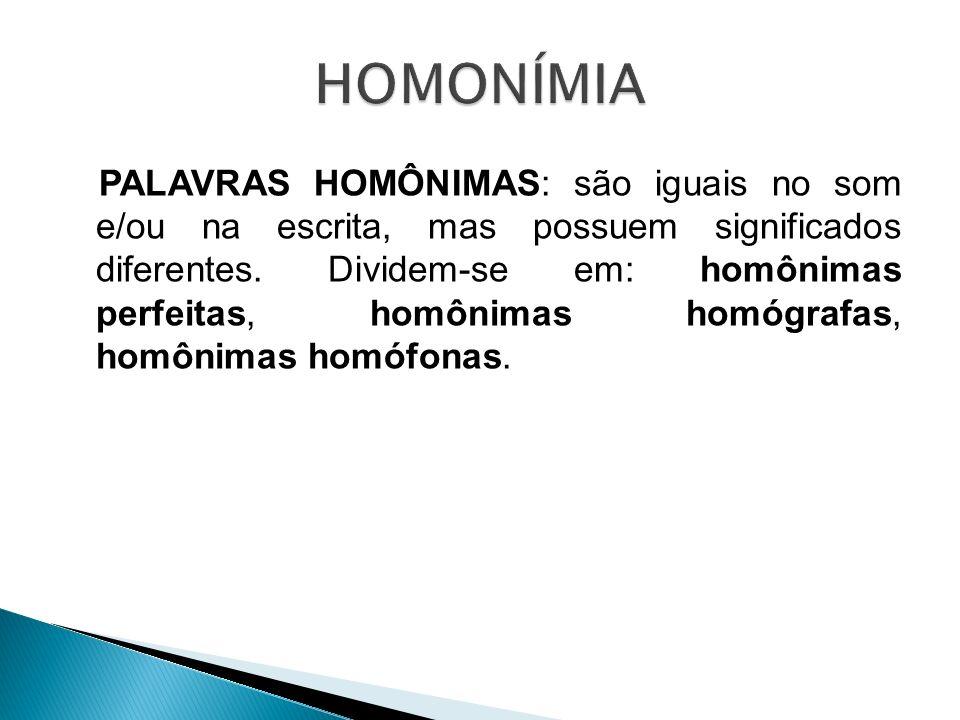 PALAVRAS HOMÔNIMAS: são iguais no som e/ou na escrita, mas possuem significados diferentes. Dividem-se em: homônimas perfeitas, homônimas homógrafas,
