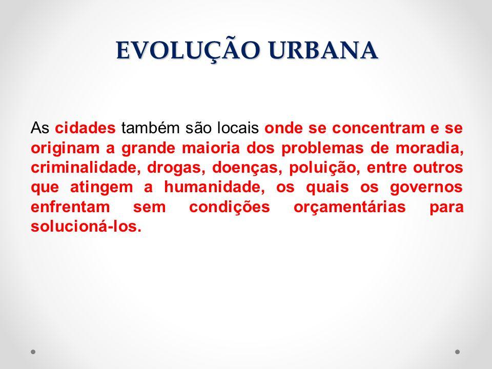As cidades também são locais onde se concentram e se originam a grande maioria dos problemas de moradia, criminalidade, drogas, doenças, poluição, ent