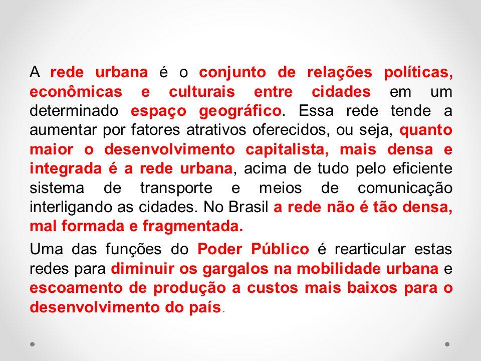 A rede urbana é o conjunto de relações políticas, econômicas e culturais entre cidades em um determinado espaço geográfico. Essa rede tende a aumentar