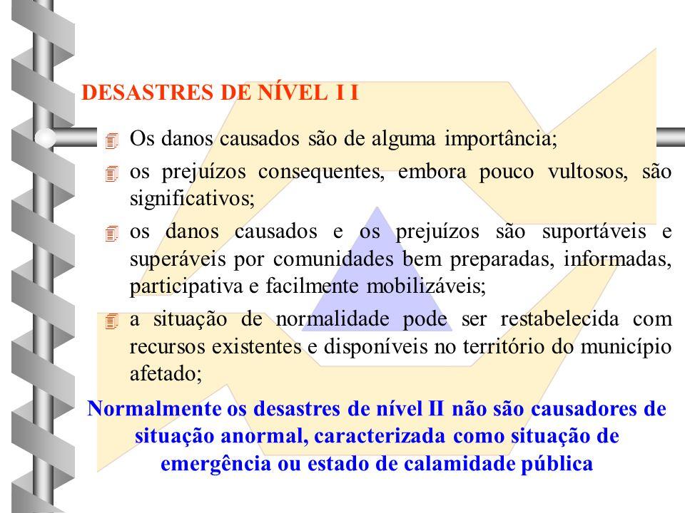 DESASTRES DE NÍVEL I 4 4 Os danos causados são pouco importantes; 4 4 os prejuízos consequentes são poucos vultosos; 4 4 os danos causados e prejuízos