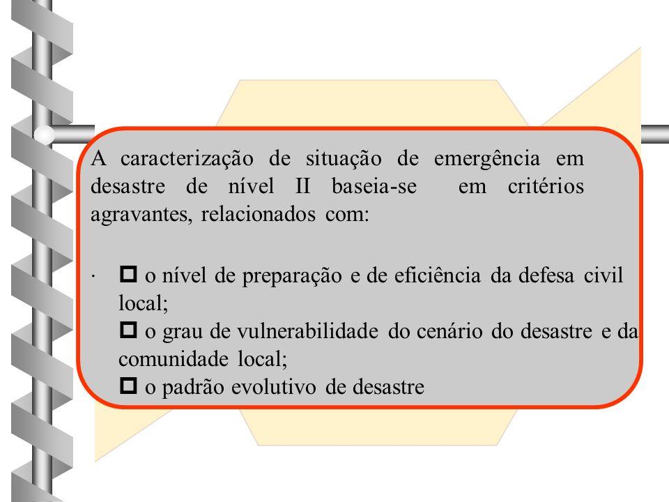 DESASTRES DE NÍVEL I I 4 4 Os danos causados são de alguma importância; 4 4 os prejuízos consequentes, embora pouco vultosos, são significativos; 4 4