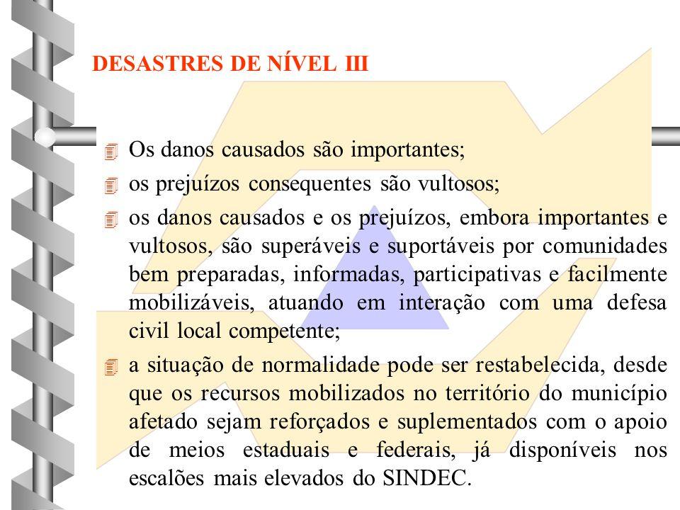 A caracterização de situação de emergência em desastre de nível II baseia-se em critérios agravantes, relacionados com:. o nível de preparação e de ef