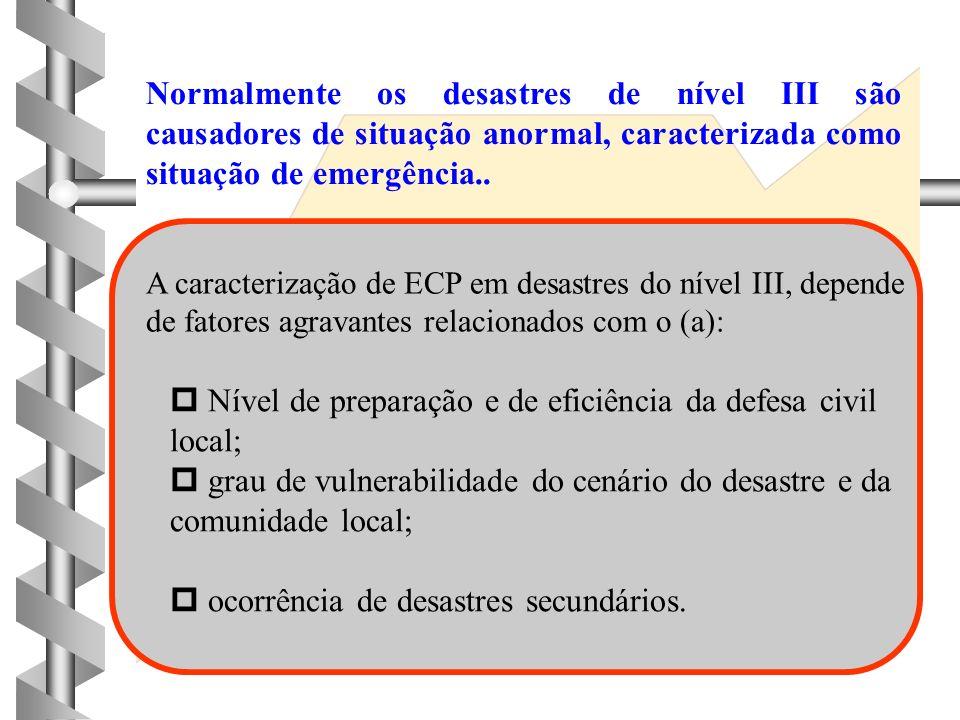 DESASTRES DE NÍVEL III 4 4 Os danos causados são importantes; 4 4 os prejuízos consequentes são vultosos; 4 4 os danos causados e os prejuízos, embora